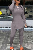 Gray Round Neck Casual Long Sleeve Pencil Pants Side Open Fork Two-Pieces N9270