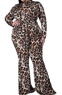 ブラウンビッグサイズヨーロッパ女性トレンディなヒョウ印刷カジュアルプラスジャンプスーツWA7137