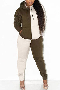 Marron Trendy Women Color Matching Sport Casual Hooded Fleece Pantalons longs définit WA7134