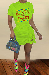Neon Green Big Size Women Sexy Printing Letter Plus Mini Dress TZ10871