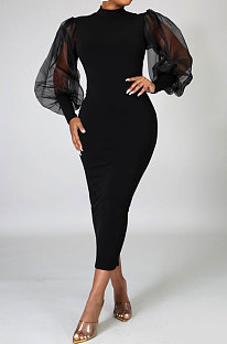 Black Euramerican Women Net Yarn Perspective Puff Sleeve Package Buttocks  Midi Dress YZ2417