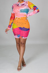Pink Red Blue Euramerican Womenswear Printing Set Head Long Sleeve Mini Dress YZ2414