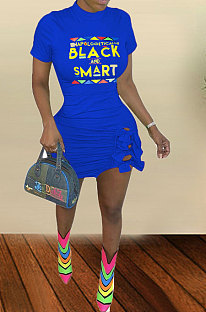 Blue Big Size Women Sexy Printing Letter Plus Mini Dress TZ10871