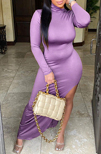Purple Casual Long Slevee Long Dress LML195