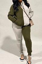 الجيش الأخضر أزياء المرأة اللون مطابقة الرياضة عارضة مقنعين الصوف السراويل الطويلة مجموعات WA7134