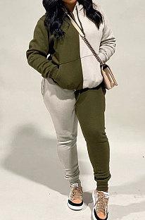 Armée Vert Mode Femmes Couleur Assortie Sport Casual À Capuche Polaire Long Pantalon Ensembles WA7134