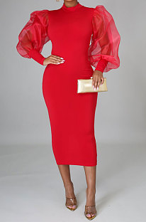 Red Euramerican Women Net Yarn Perspective Puff Sleeve Package Buttocks  Midi Dress YZ2417