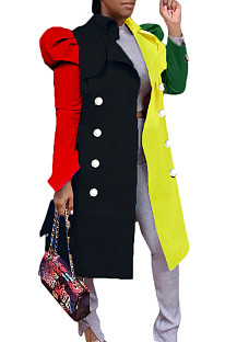 Colorful-Black Fashion Tailored Collar Color Matching In The Long Bubble Slevee Dust Coat SDE1299