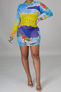Light Blue Euramerican Womenswear Printing Set Head Long Sleeve  Mini Dress YZ2414