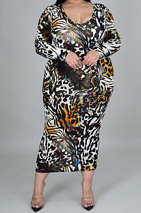 Leopard Skirt Big Size Women Digital Printing Cultivate One's Morality Long Sleeve Plus Long Dress YZ1019