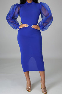 Blue Euramerican Women Net Yarn Perspective Puff Sleeve Package Buttocks  Midi Dress YZ2417