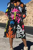Black Fashion Dlazer Collar Print Mid-Length Windbreaker SDE1191
