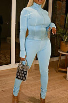 Light Blue Fashion Casual Cultivate One's Morality Sports Suit  LML198