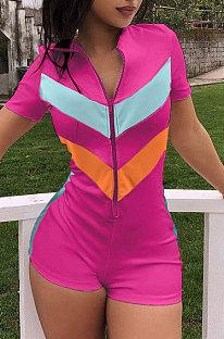 ローズレッド春と夏のヨーロッパの女性スポーツスプライスショーツジャンプスーツDN8087