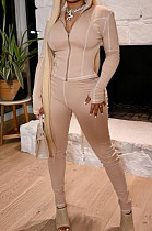Khaki Fashion Casual Cultivate One's Morality Sports Suit  LML198