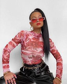 Multi femmes euraméricaines belle impression tie dye manches longues col rond t-shirts TD8008