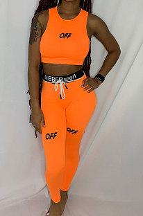 Ensembles de pantalons de forme de corps de sport de ligne de taille de lettre anglaise orange LY617
