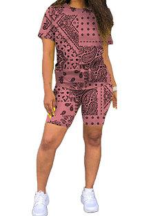 ピンクのヨーロッパの女性カシューフラワールーズツーピースCYY8070