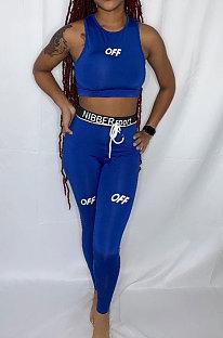 Ensembles de pantalons en forme de corps de sport avec lettre anglaise bleue LY617