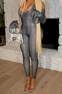 Gray Bling Bling Shell Fabric Horn Sleeve Body Shape Bodycon Jumpsuits LY615