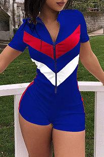 青い春と夏のヨーロッパの女性スポーツスプライスショーツジャンプスーツDN8087