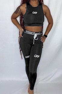 Ensembles de pantalons en forme de corps de sport avec lettre anglaise noire LY617