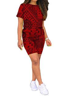 赤い欧米の女性カシューフラワールーズツーピースCYY8070