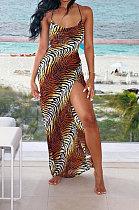 Tiger Stripes Sexy Euramreican Women Printing Gallus فستان طويل LS6412