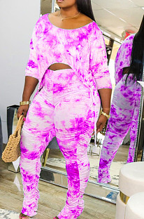 Rose Red Casual Tie Dye Lift The Hips Cultive One's Morality Shrink Fold Flared Pants Two-Piece TK6089
