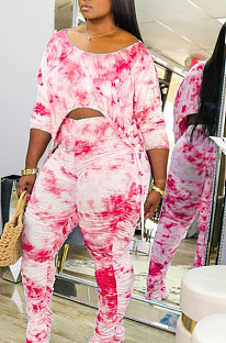 Red Casual Tie Dye Lift The Hips Cultivate One's Morality Shrink Fold Flared Trousers Two-Piece TK6089