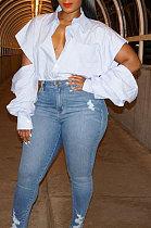 قميص أبيض طويل الأكمام غير منتظم طية صدر السترة أبيض قميص نسائي عصري GYY8120