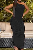 أزياء سوداء مثير يتقلص أضعاف فساتين لون نقي TK6080