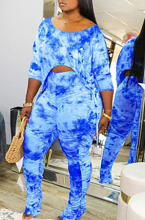 Dark Blue Casual Tie Dye Lift The Hips Cultivate One's Morality Shrink Fold Flared Trousers Two-Piece TK6089