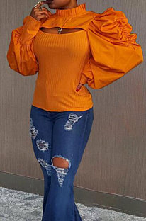 Orange Spring Pure Color Hollow Out Puff Sleeve Blouse ZD1239