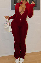 Wine Red Autumn Winter Fashion Cultivate One's Morality Sexy Club Horn Ruffle Long Sleeve Casual Jumpsuit AD0820