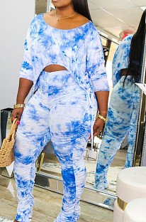 Blue Casual Tie Dye Lift The Hips Cultivate One's Morality Shrink Fold Flared Trousers Two-Piece TK6089