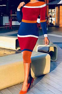 赤い秋冬女性セクシーな自分の道徳コントラストカラー印刷長袖ミディドレスAD1104を育てる