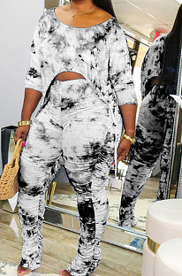 Black Casual Tie Dye Lift The Hips Cultivate One's Morality Shrink Fold Flared Trousers Two-Piece TK6089