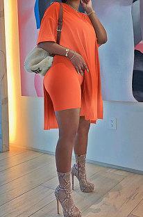 オレンジ色のヨーロッパの女性の段階的な変更ルーズ半袖ツーピースAD1205