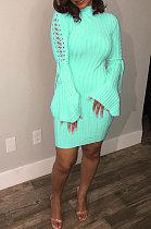 Cyan Euramerican Women Spring Summer Bind Horn Sleeve Mini Dress AD1109