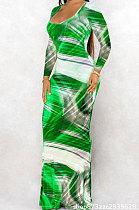 فستان طويل نسائي من euramerican باللون الأخضر الفاتح لخريف وشتاء مثير عصري مطبوع عليه صبغة التعادل AD3002