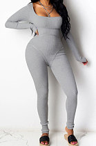 Gray Summer Casual Sport Trendy Sexy Tight Carry Buttock Pure Color Bodycon Jumpsuits MLM9009