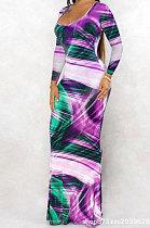 البنفسجي euramerican المرأة الخريف الشتاء مثير العصرية التعادل صبغ الطباعة فستان طويل AD3002