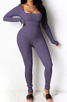 Purple Summer Casual Sport Fashion Sexy Tight Carry Buttock Pure Color Bodycon Jumpsuits MLM9009