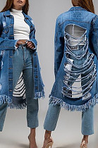 Blue Fashion Personality Versatile Cowboy Flower Tassel Coat TK6377