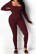 Red Summer Casual Sport Trendy Sexy Tight Carry Buttock Pure Color Bodycon Jumpsuits MLM9009