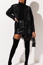 Black Fashion Personality Versatile Cowboy Flower Tassel Coat TK6377