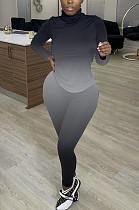 Black Fashion Sexy High Collar Tie Dye Casual Two-Piece WY6743