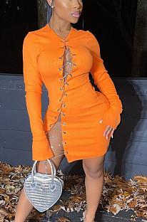 オレンジファッション記事ピットジッパー中空アウトセクシーミニドレスTK6149
