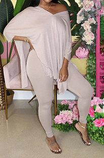 Apricot White Euramerican Womenswear Pure Color Slotting V Neck Two-Pieces Q610